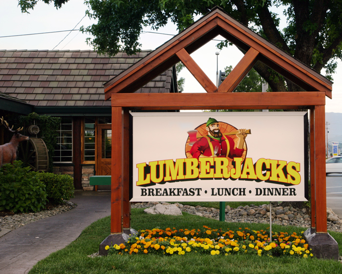 Lumberjacks Sign Reads: Lumberjacks - Breakfast, Lunch, Dinner